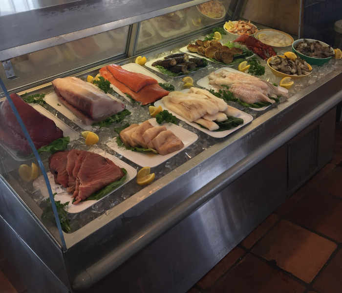 fish filets in display case