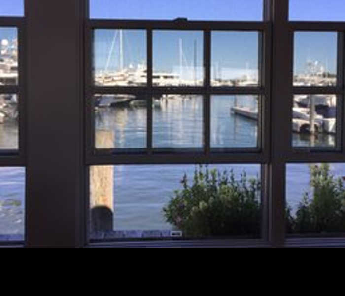 View of Sag Harbor from inside the Dock House